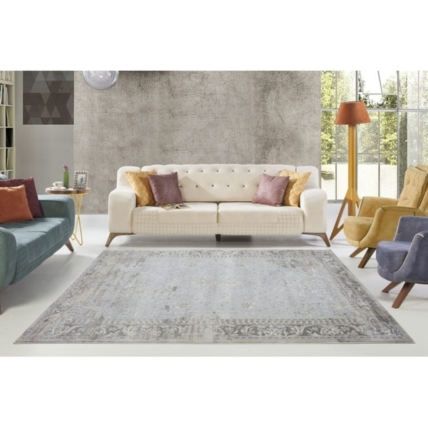 LaDole Rugs Abstract Garnet Contemporary Area Rug Runner in Cream Grey