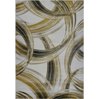 LaDole Rugs Beautiful Super Soft Modern Area Rug in Cream Gold
