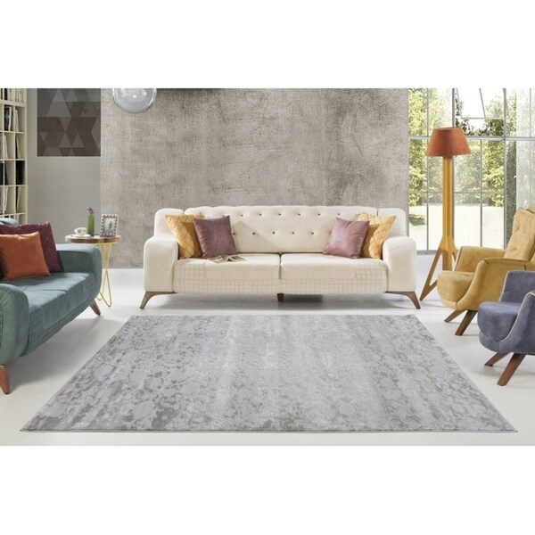 LaDole Rugs Concord Beautiful Abstract Area Rug in Silver Grey