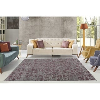 LaDole Rugs Concord Beautiful Abstract Area Rug in Plum Grey