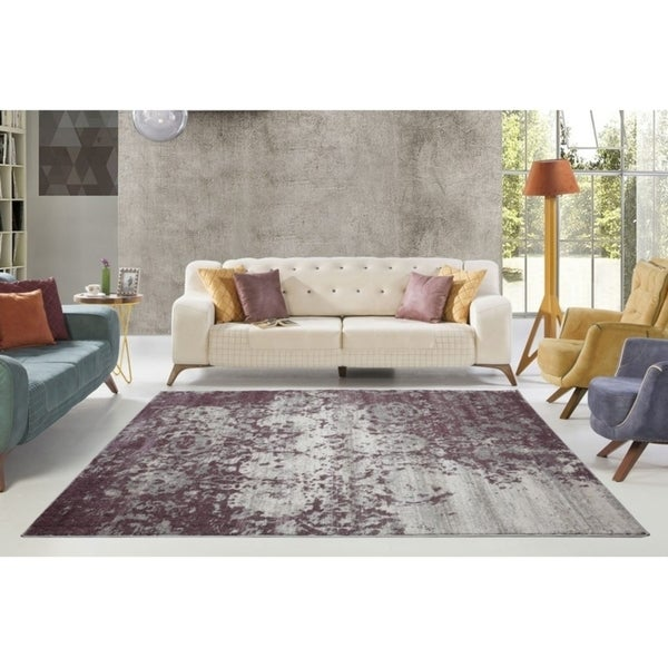 LaDole Rugs Cherine Soft and Modern Style Area Rug in Plum Grey