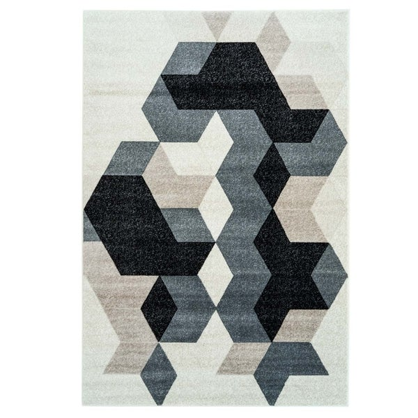 LaDole Rugs Machine Made Sultan Geometric Area Rug in Black Grey