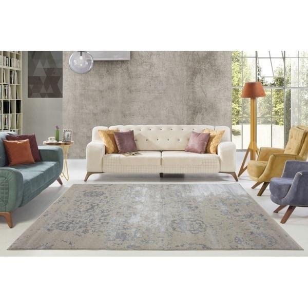LaDole Rugs Cherine Soft Modern Style Area Rug in Cream Grey