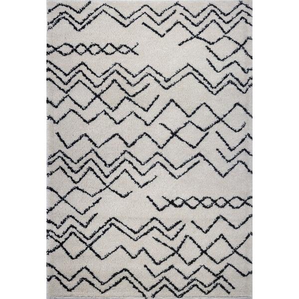 LaDole Rugs Contemporary Trellis Area Rugs in Ivory Dark Grey
