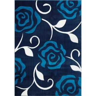 LaDole Rugs Rose Floral Pattern European Area Rug Runner Rug Navy Turquoise