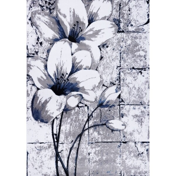 LaDole Rugs Beautiful Tulips Floral Pattern Area Rug Runner Rug Grey Blue