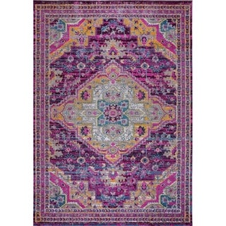 "LaDole Rugs Timeless Elson Vintage Outdoor Mat Purple Pink 1'10"" x 2'11"""
