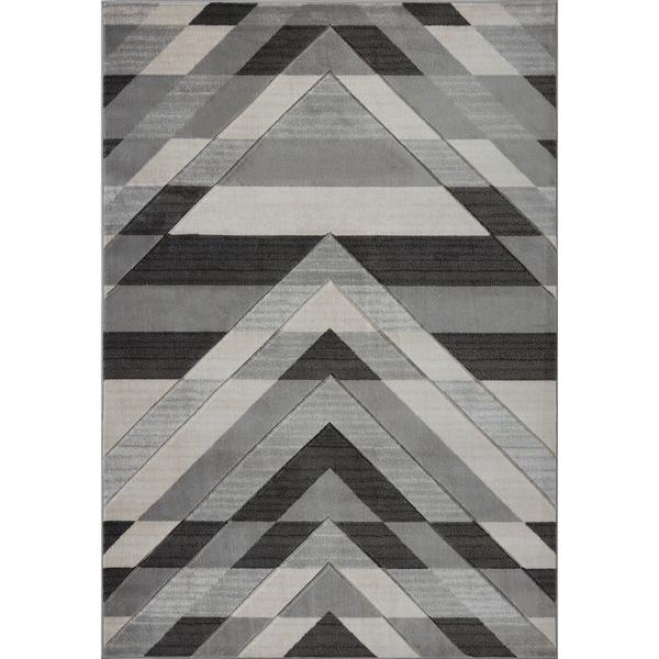 LaDole Rugs Beautiful Super Soft Modern Area Rug in Grey Black