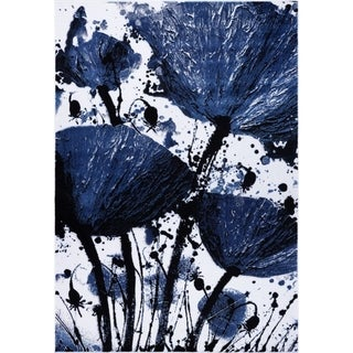 LaDole Rugs Beautiful Poppy Floral Pattern Area Rug Runner Rug Navy Black