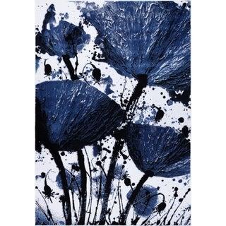 LaDole Rugs Beautiful Poppy Floral Pattern Area Rug Runner Rug Navy Black