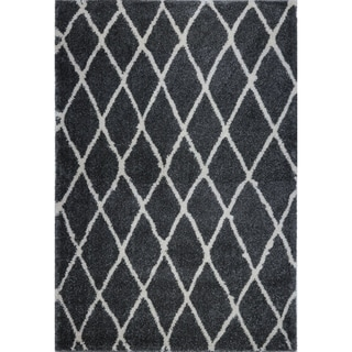 LaDole Rugs Geometric Trellis Stylish Area Rug in Dark Grey Ivory 4x6