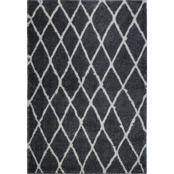 LaDole Rugs Geometric Trellis Stylish Area Rug in Dark Grey Ivory 4x6