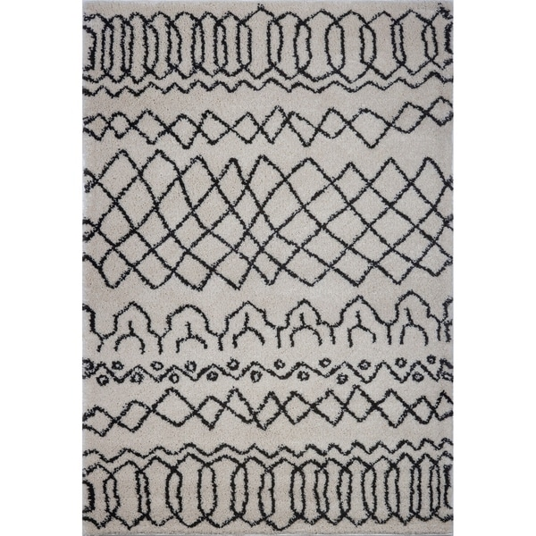LaDole Rugs Trellis Beautiful Modern Area Rug in Ivory Dark Grey 4x6