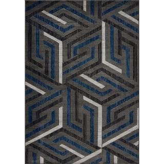 LaDole Rugs Beautiful Soft Modern Area Rug in Dark Grey Dark Blue
