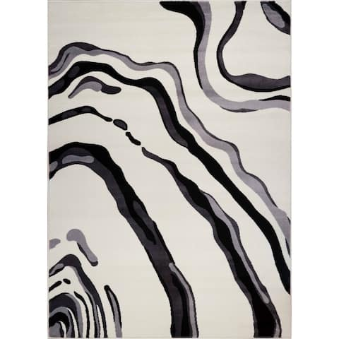 LaDole Rugs Abstract Contemporary Style Area Rug in Cream Black