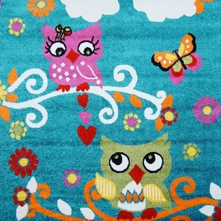 LaDole Rugs Adorable Modern Moda Kids Area Rug with Owl Blue