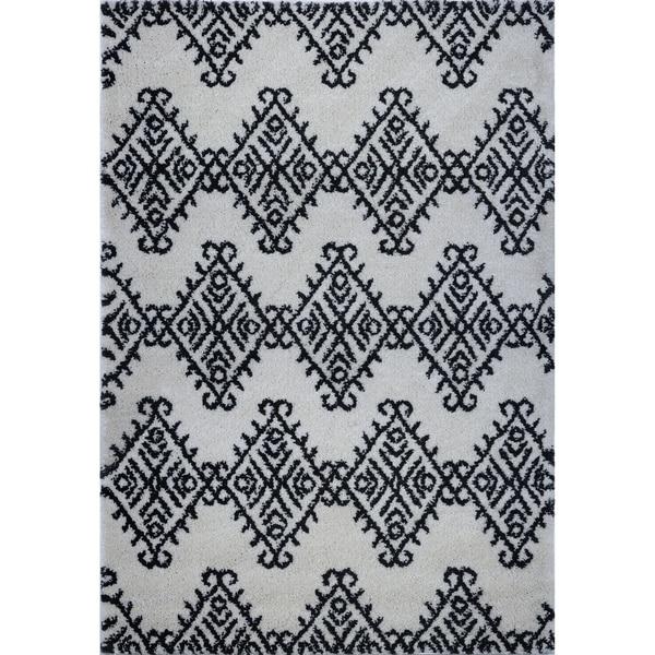 LaDole Rugs Soft Trellis Geometric Area Rug in Ivory Dark Grey 4x6