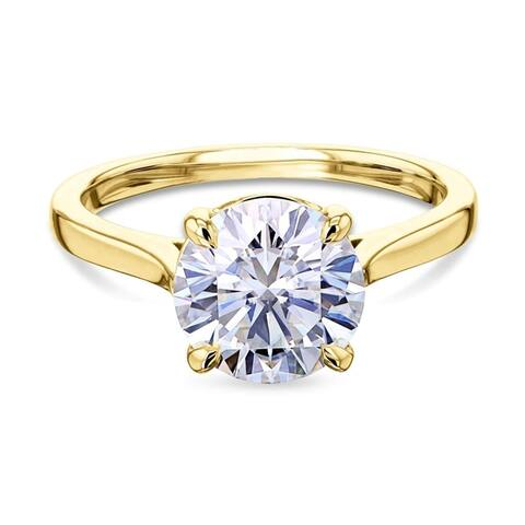 Annello by Kobelli 14k Gold 1.9ct Round Moissanite Solitaire Cathedral Basket Prong Engagement Ring (FG/VS)