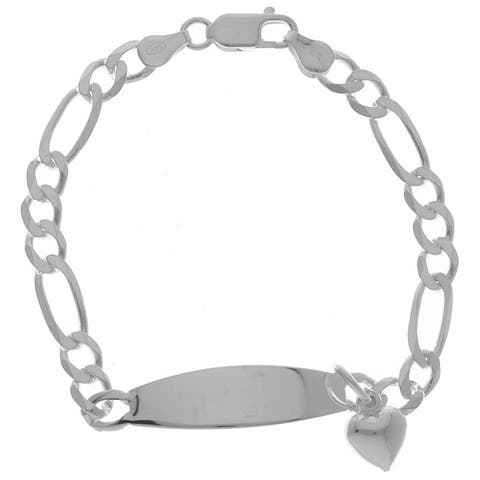 Sterling Silver Oval ID Bracelet with Heart Charm ( 7 Inch )