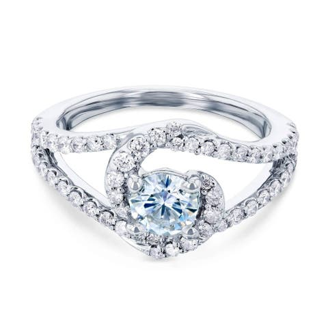 Annello by Kobelli 14k White Gold 1ct TGW Forever One Lab Moissanite and Natural Diamond Bypass Twist Curved Engagement Ring