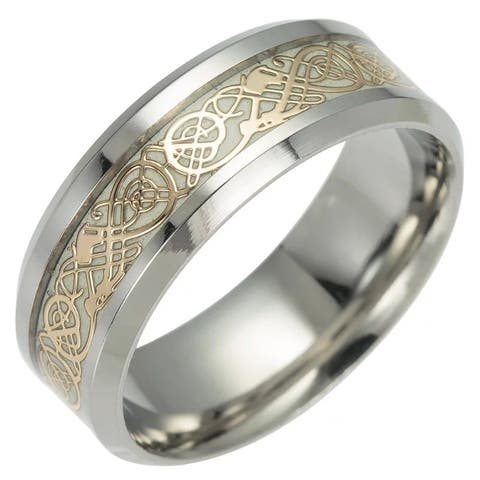 Yellow Stainless Steel Glowing Dragon Comfort Fit Wedding Ring 8 MM