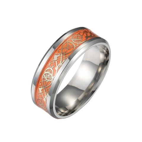 Orange Stainless Steel Glowing Dragon Comfort Fit Wedding Ring 8 MM