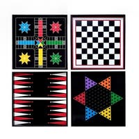 Classic Wood Game Boards Wall Hanging Set of Four with Playing Pieces (Black) - Black - N/A