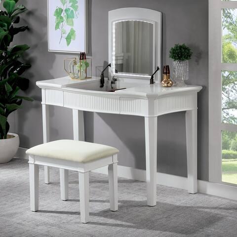 Furniture of America Taji Transitional White Solid Wood Vanity Set