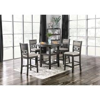 Furniture of America Vigg Transitional Grey Fabric 5-piece Dining Set