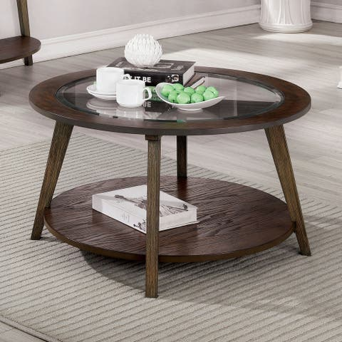 Furniture of America Hula Mid-century Oak Solid Wood Coffee Table