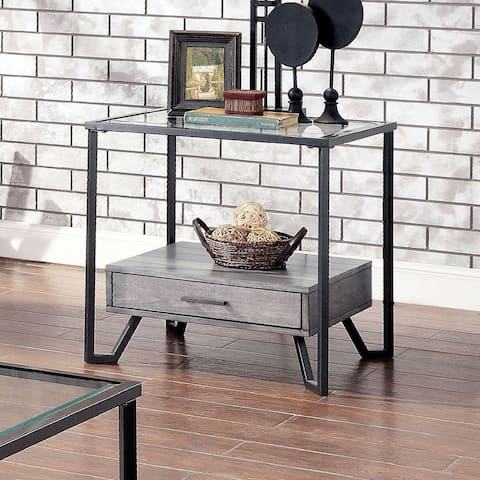 Furniture of America Korz Industrial Grey Glass Top 1-drawer End Table