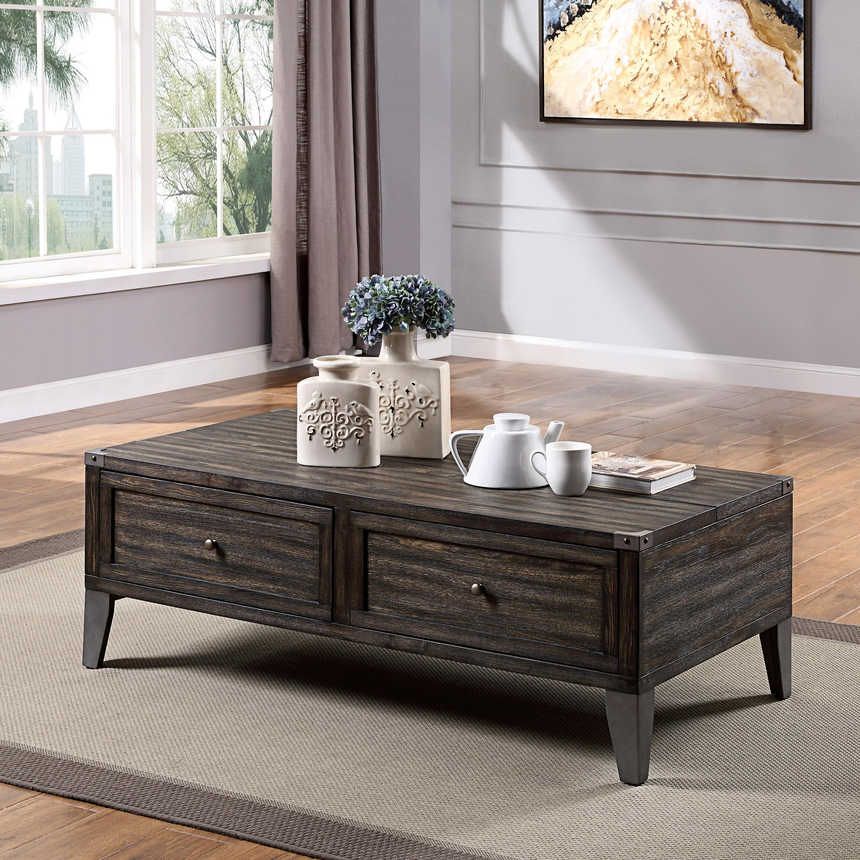 Furniture Of America Sete Industrial Oak 2 Drawer Coffee Table Overstock 29243859