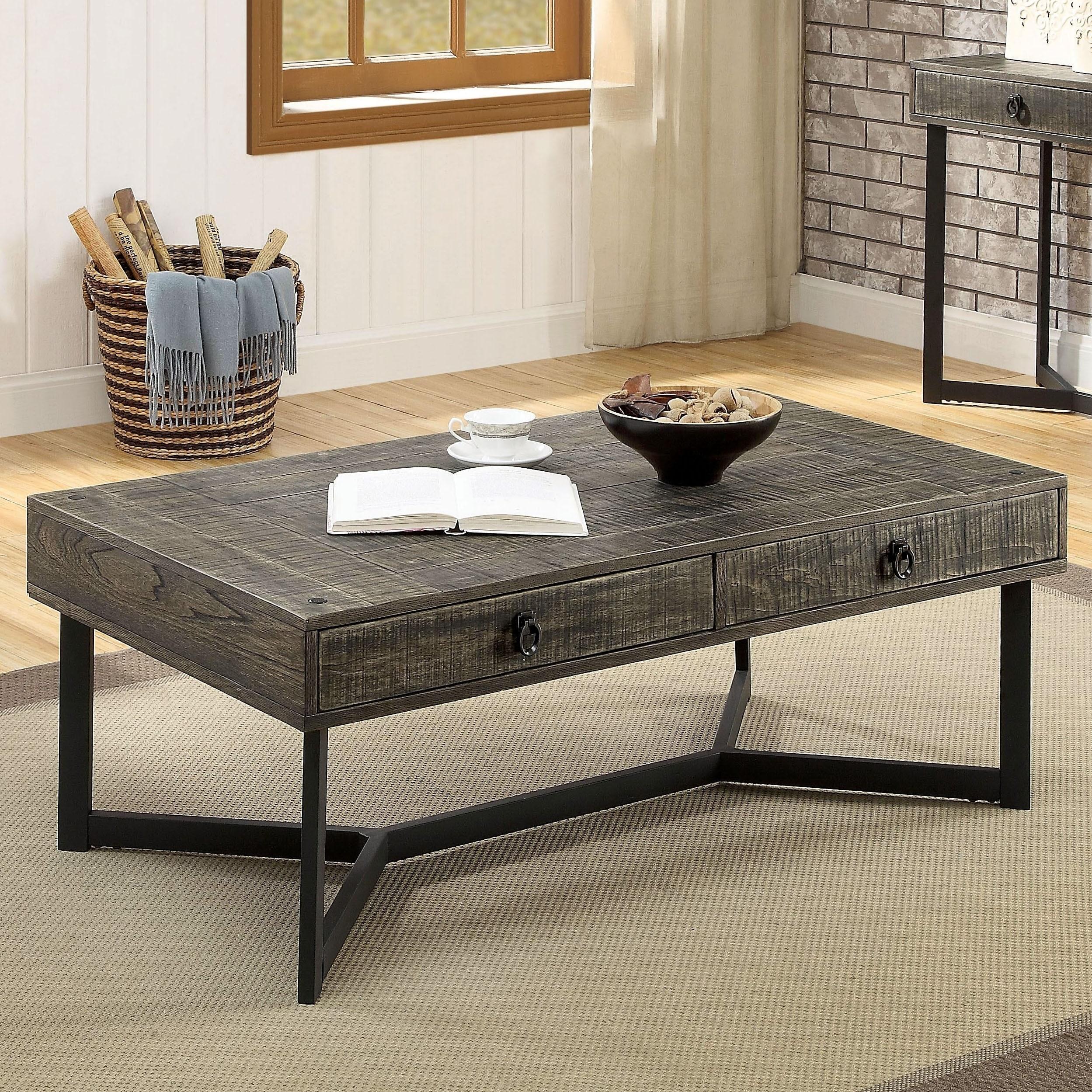 Furniture Of America Mini Oak Solid Wood Coffee Table
