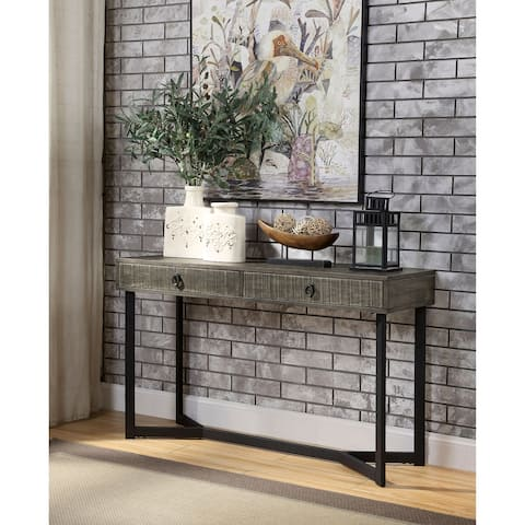 Furniture of America Mini Industrial Oak Solid Wood Sofa Table