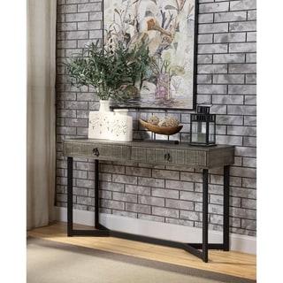 Furniture of America Mini Industrial Oak Solid Wood 2-drawer Sofa Table
