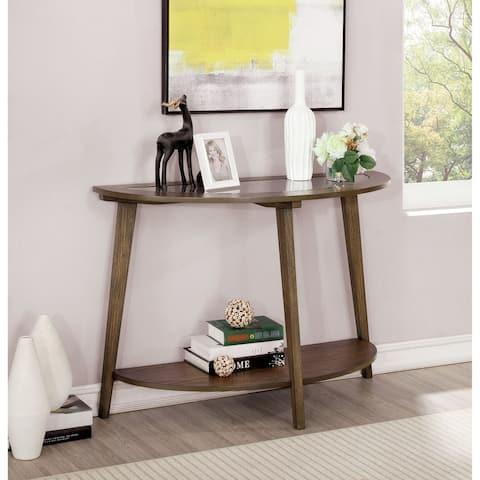 Furniture of America Hula Oak 42-inch Solid Wood 1-shelf Sofa Table