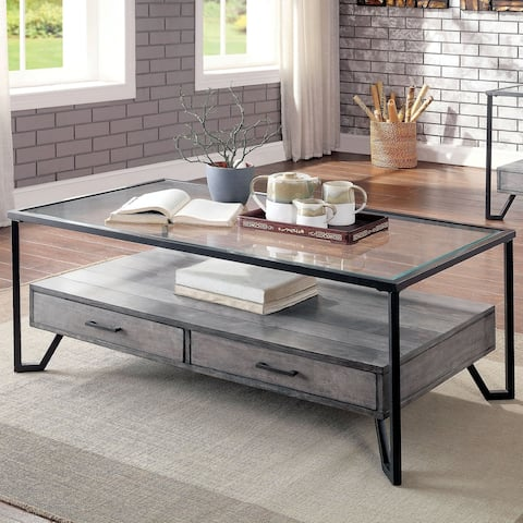 Furniture of America Korz Industrial Grey Metal 2-drawer Coffee Table