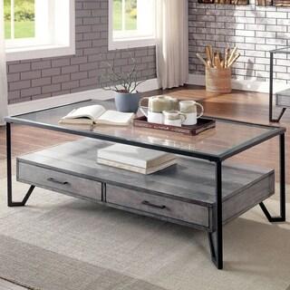 Furniture of America Korz Industrial Grey Metal 2-drawer Coffee Table