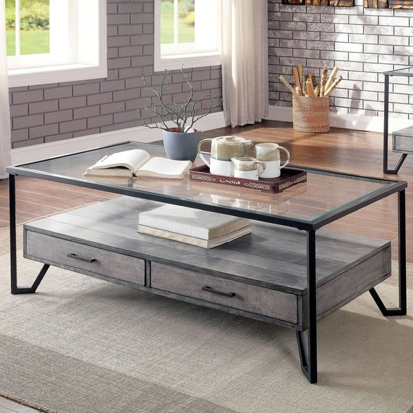 Furniture of America Korz Industrial Grey Metal 2-drawer Coffee Table. Opens flyout.