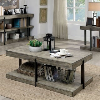 Furniture of America Lish Rustic Grey Metal Open Shelf Coffee Table