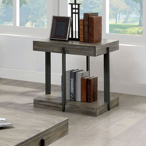 Furniture of America Karnes Rustic Grey 1-Shelf End Table