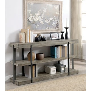 Furniture of America Lish Rustic Grey Metal Open Shelf Sofa Table