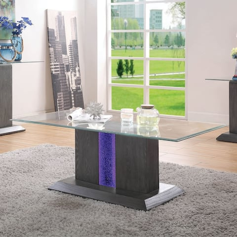 Furniture of America Quab Contemporary Grey Glass Top Coffee Table