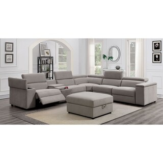 Furniture of America Wily Grey Recliner Sectional w/ Ottoman