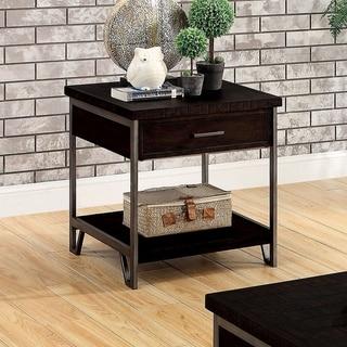 Furniture of America Hawkins Industrial Oak Solid Wood End Table