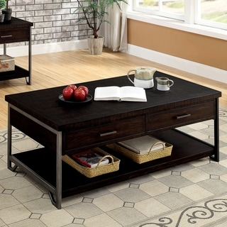 Furniture of America Hawkins Industrial Oak Solid Wood Coffee Table