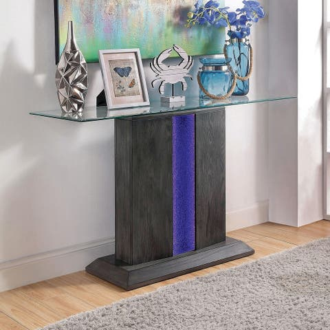 Furniture of America Quab Contemporary Grey Solid Wood Sofa Table