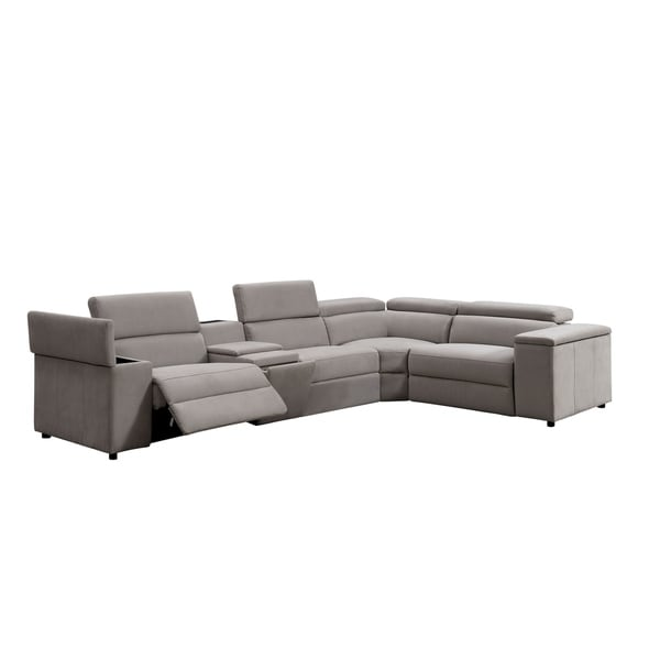 Furniture of America Wily Contemporary Grey Fabric Reclining Sectional