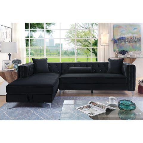 Furniture of America Reri Transitional Flannelette Tufted Sectional
