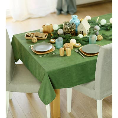Merry Christmas Solid Green Decorative Tablecloth